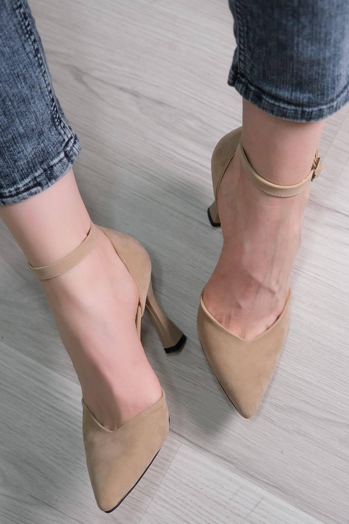 9 Cm Topuklu Ayakkabı Süetbej - 5793.264.