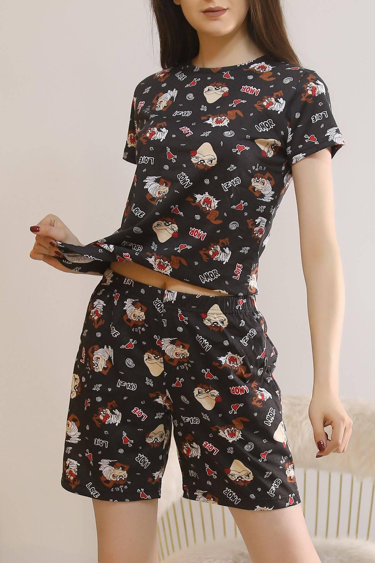 Şortlu Pijama Takımı Siyah2 - 5924.1059.