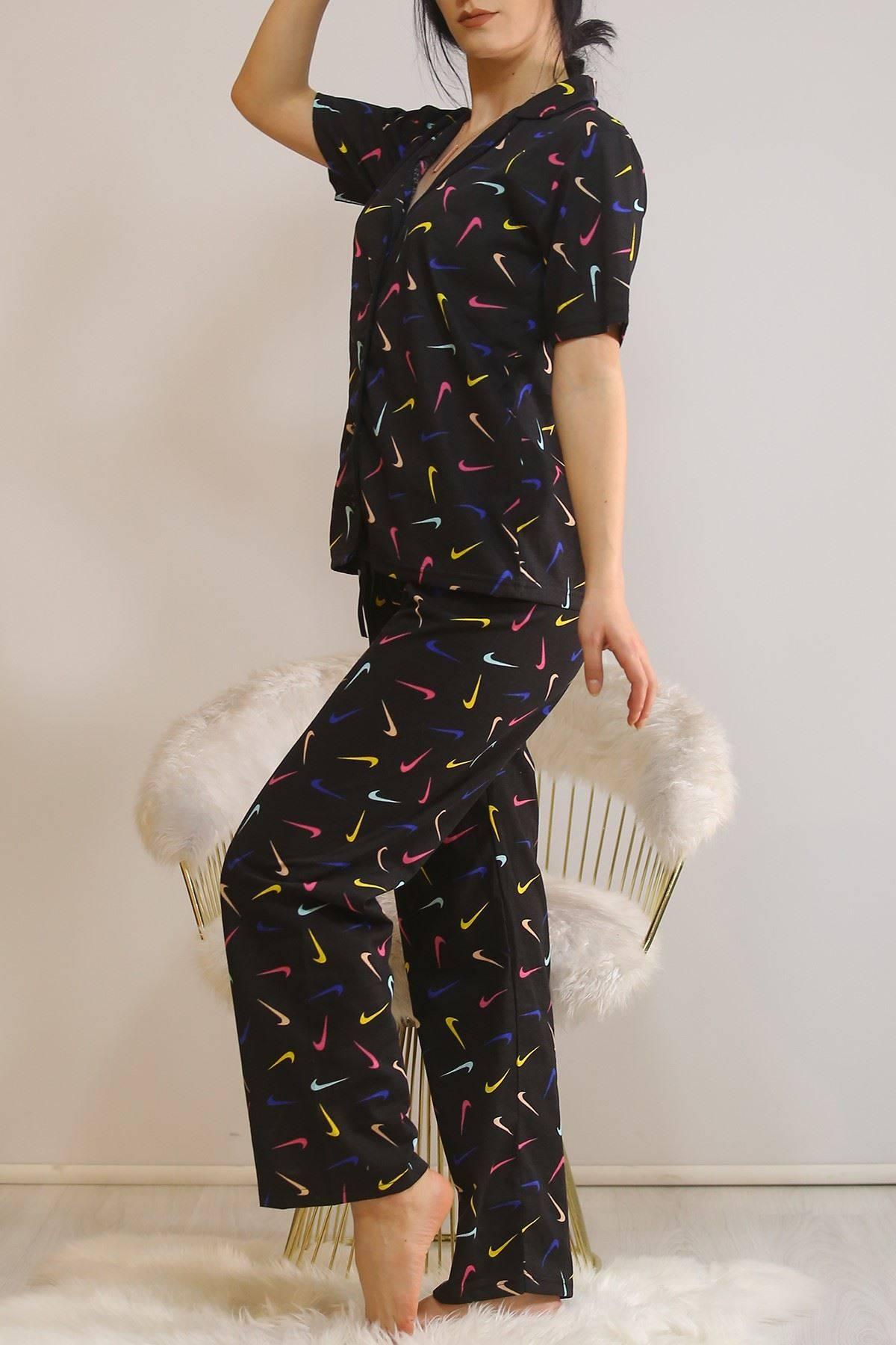 Düğmeli Pijama Takımı Siyah1 - 4782.102.