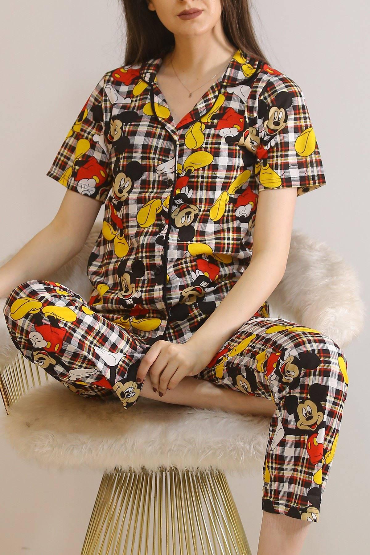Düğmeli Pijama Takımı Desenlisiyah - 4782.102.