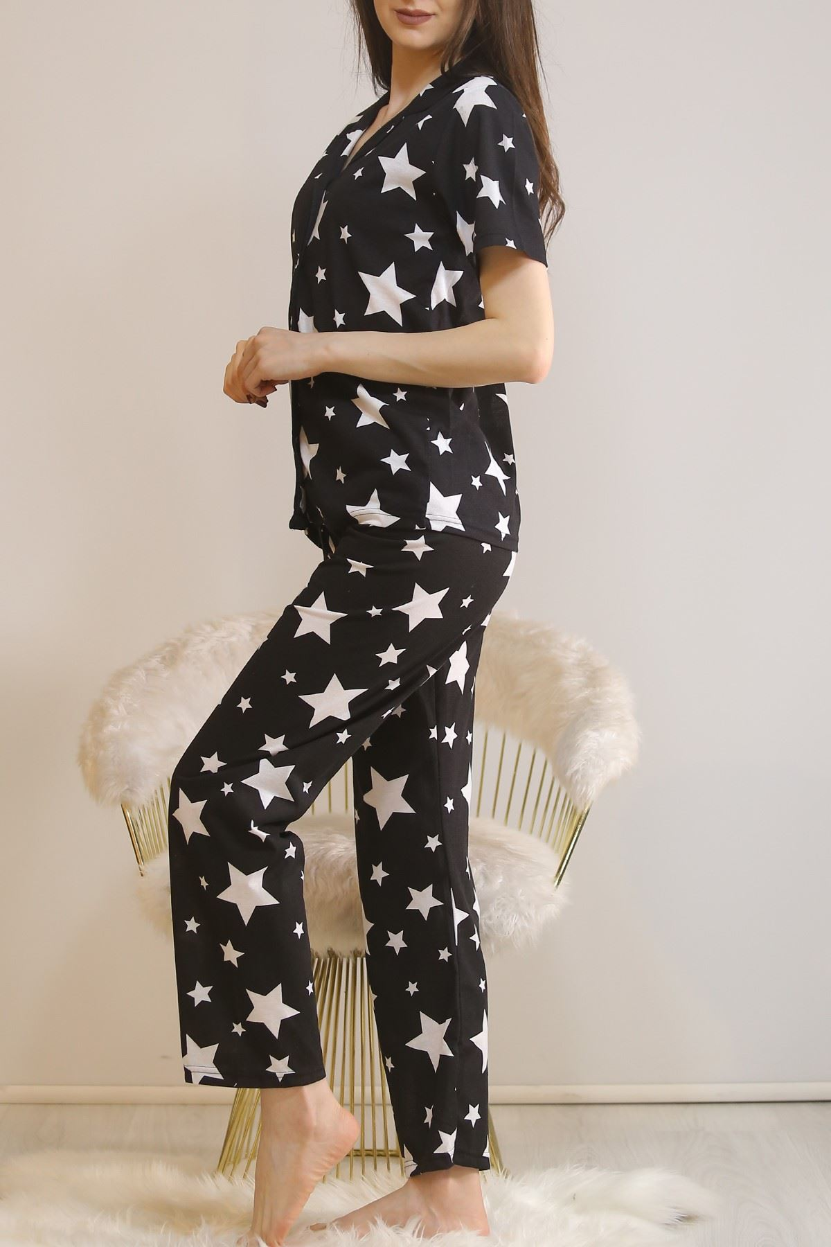 Düğmeli Pijama Takımı Siyahbeyaz - 4782.102.