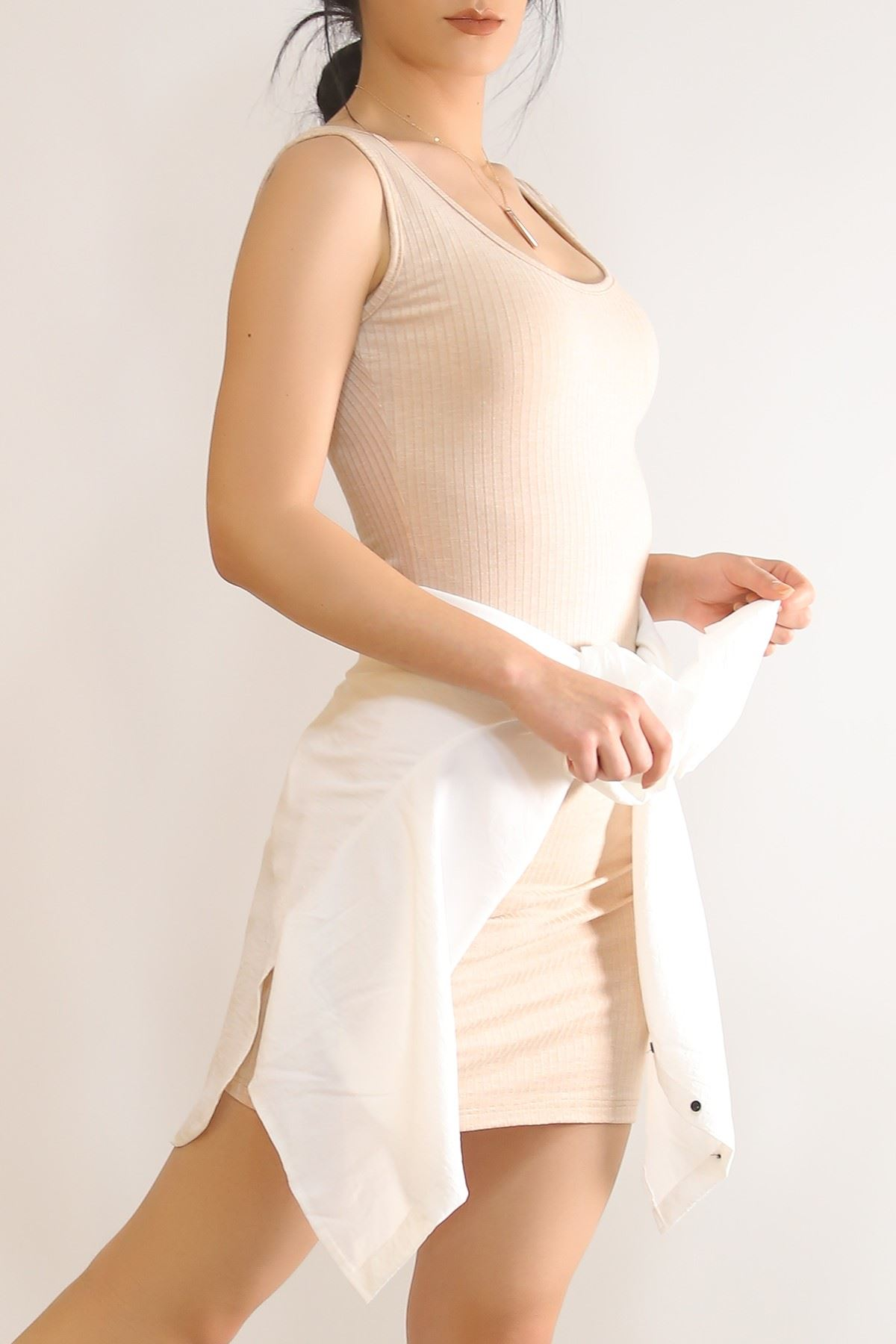 Kalın Askılı Elbise Bej - 5938.1092.