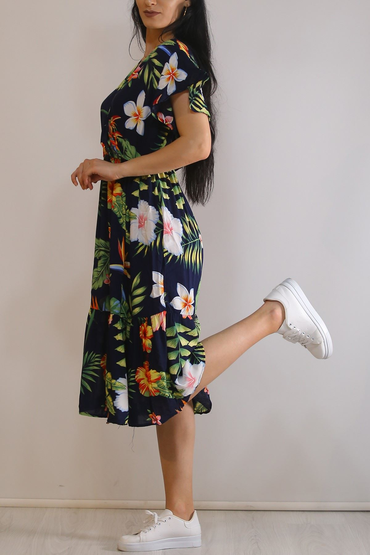 Kruvaze Yaka Elbise Desenlilaci - 5372.701.