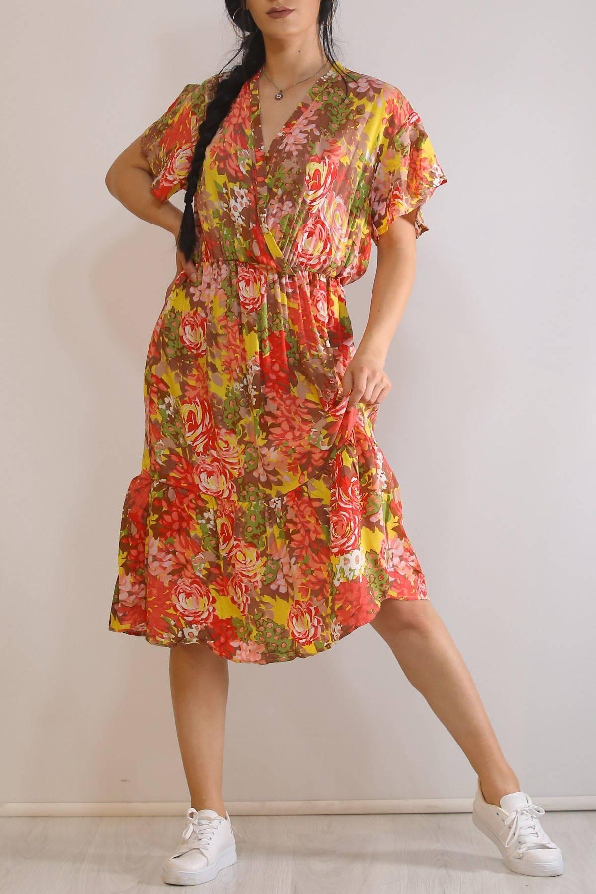 Kruvaze Yaka Elbise Karışık - 5372.701.
