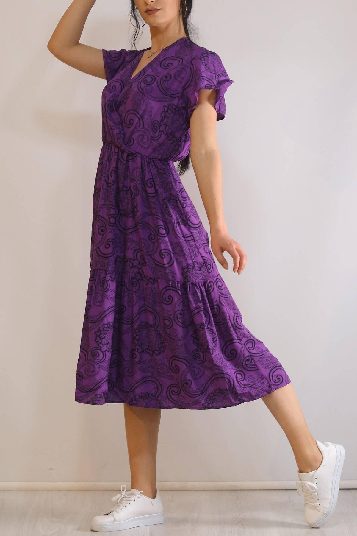 Kruvaze Yaka Elbise Mor - 5372.701.