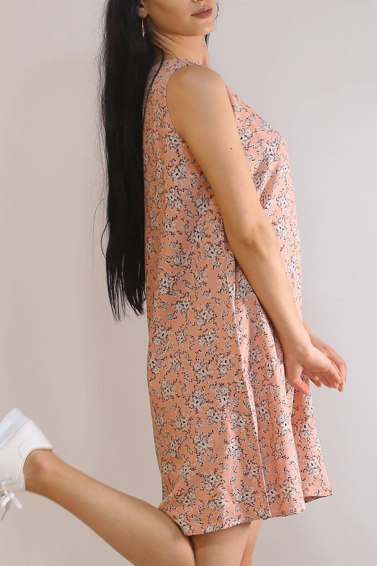 Sıfır Kol Keten Elbise Pudraçiçekli - 5841.128.