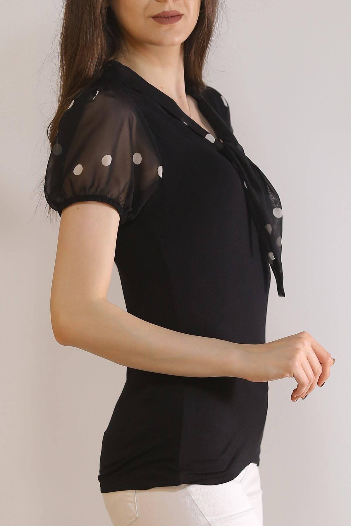 Yaka Bağlamalı Bluz Siyah - 5981.107.