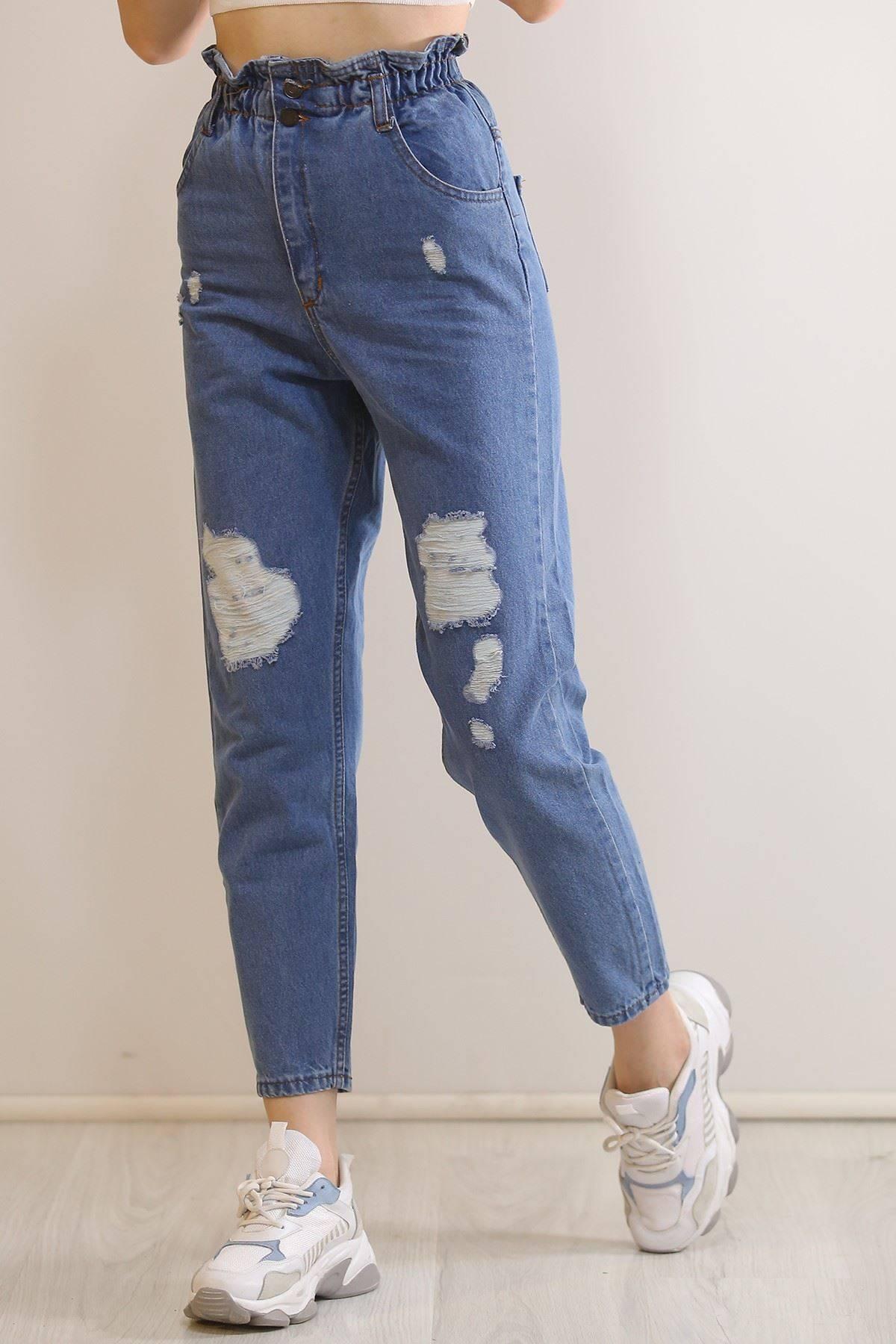 Beli Lastikli Lazer Kot Pantolon Mavi - 5985.925.