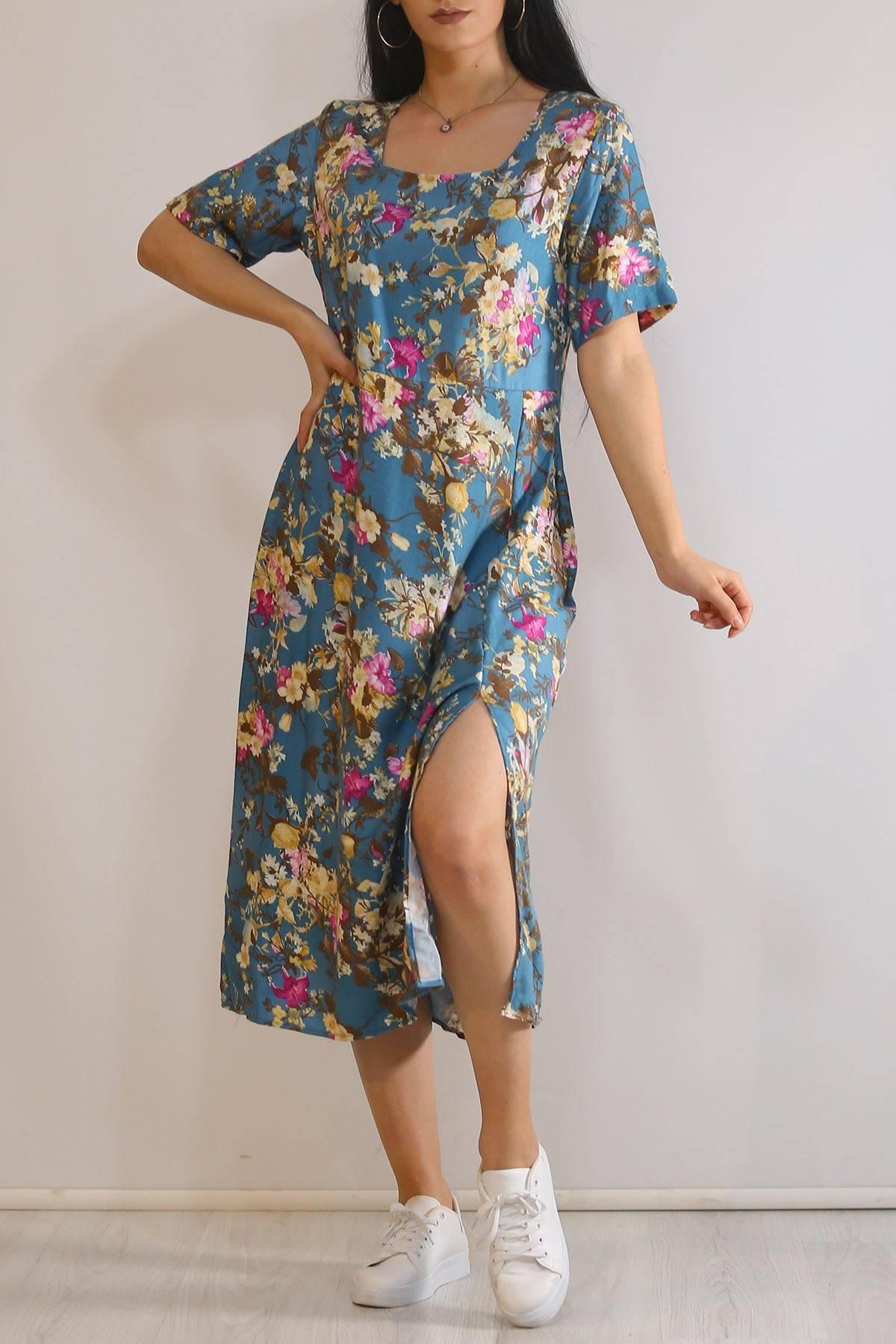 Kare Yaka Elbise Çiçeklipetrol - 5989.701.
