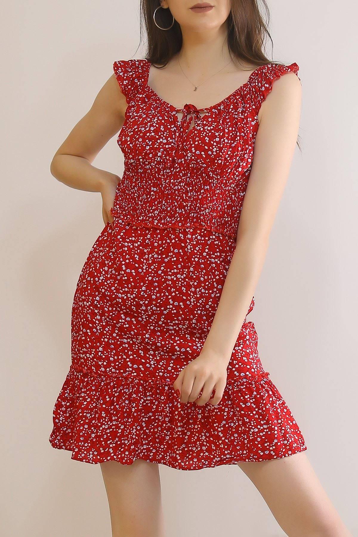 Beli Gipeli Mini Elbise Kırmızı - 2702.994.