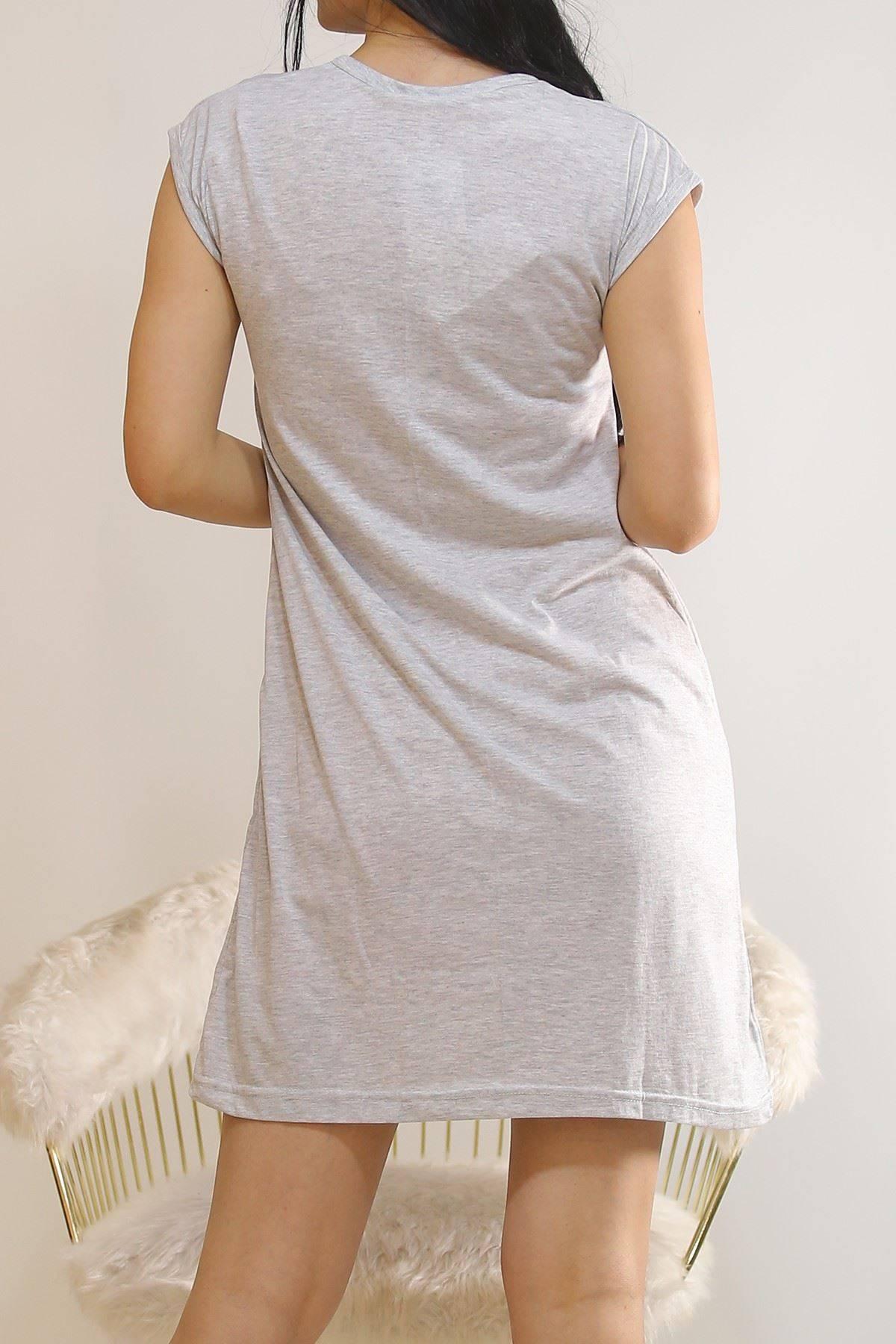 Japone Kol Elbise Gri12 - 5504.1287.
