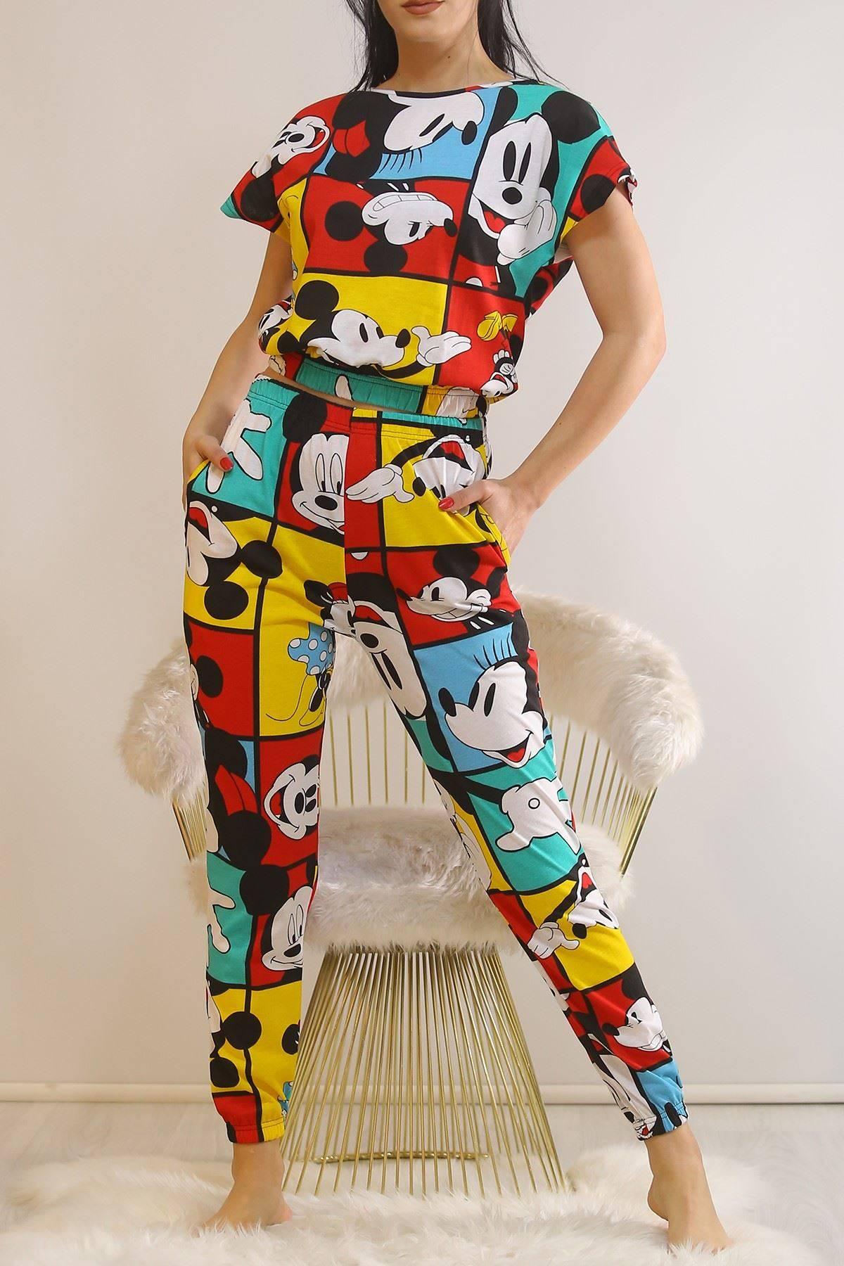Crop Pijama Takımı Rengarenk - 5992.1059.