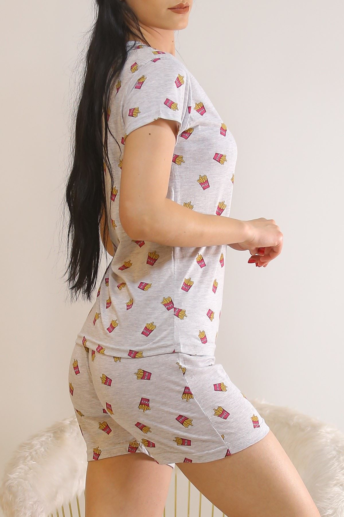 Şortlu Pijama Takımı Gri1 - 5995.1287.