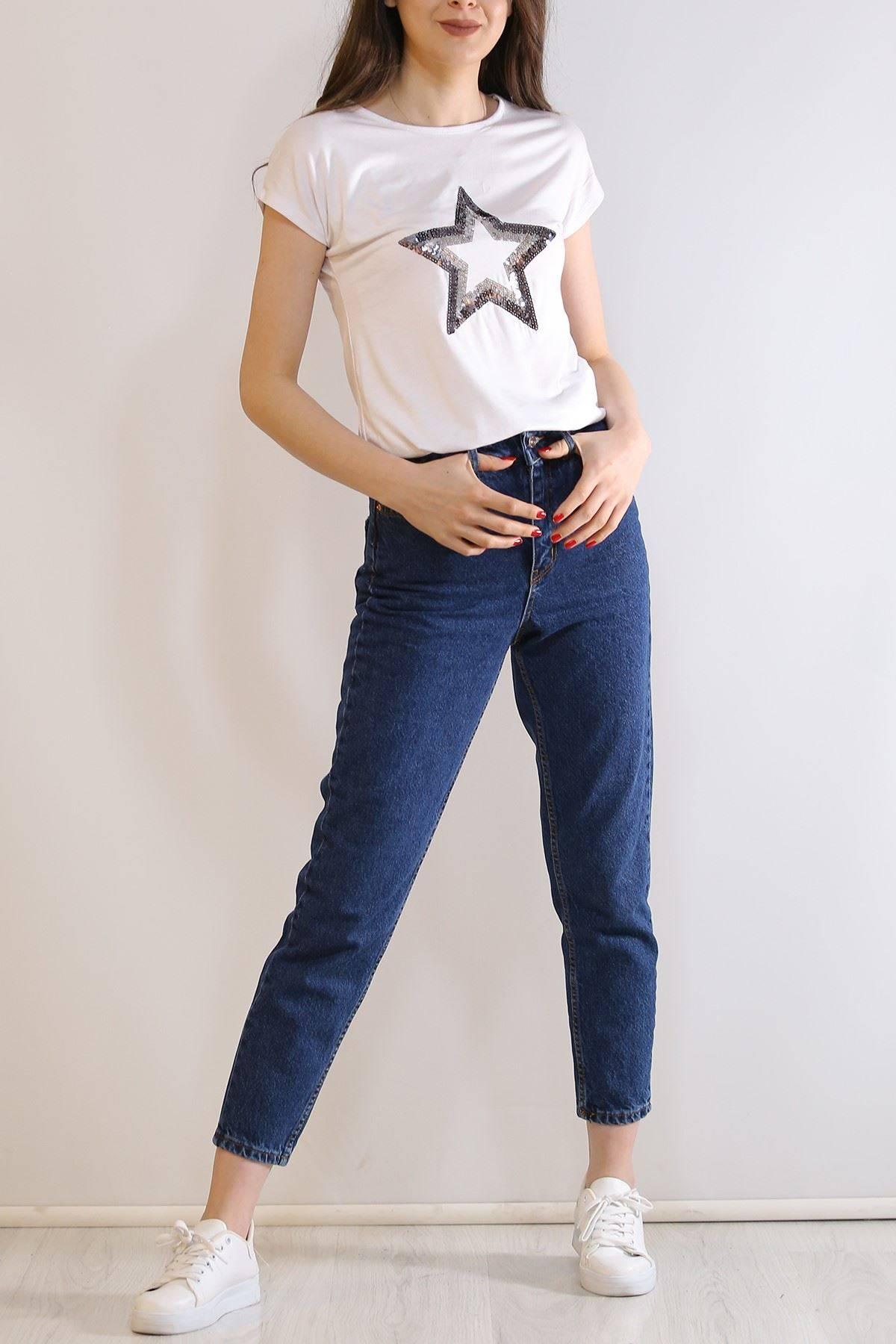 Pullu Yıldız Tişört Beyaz - 5031.139.