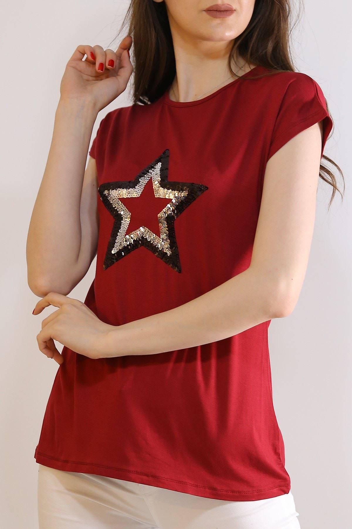 Pullu Yıldız Tişört Bordo - 5031.139.
