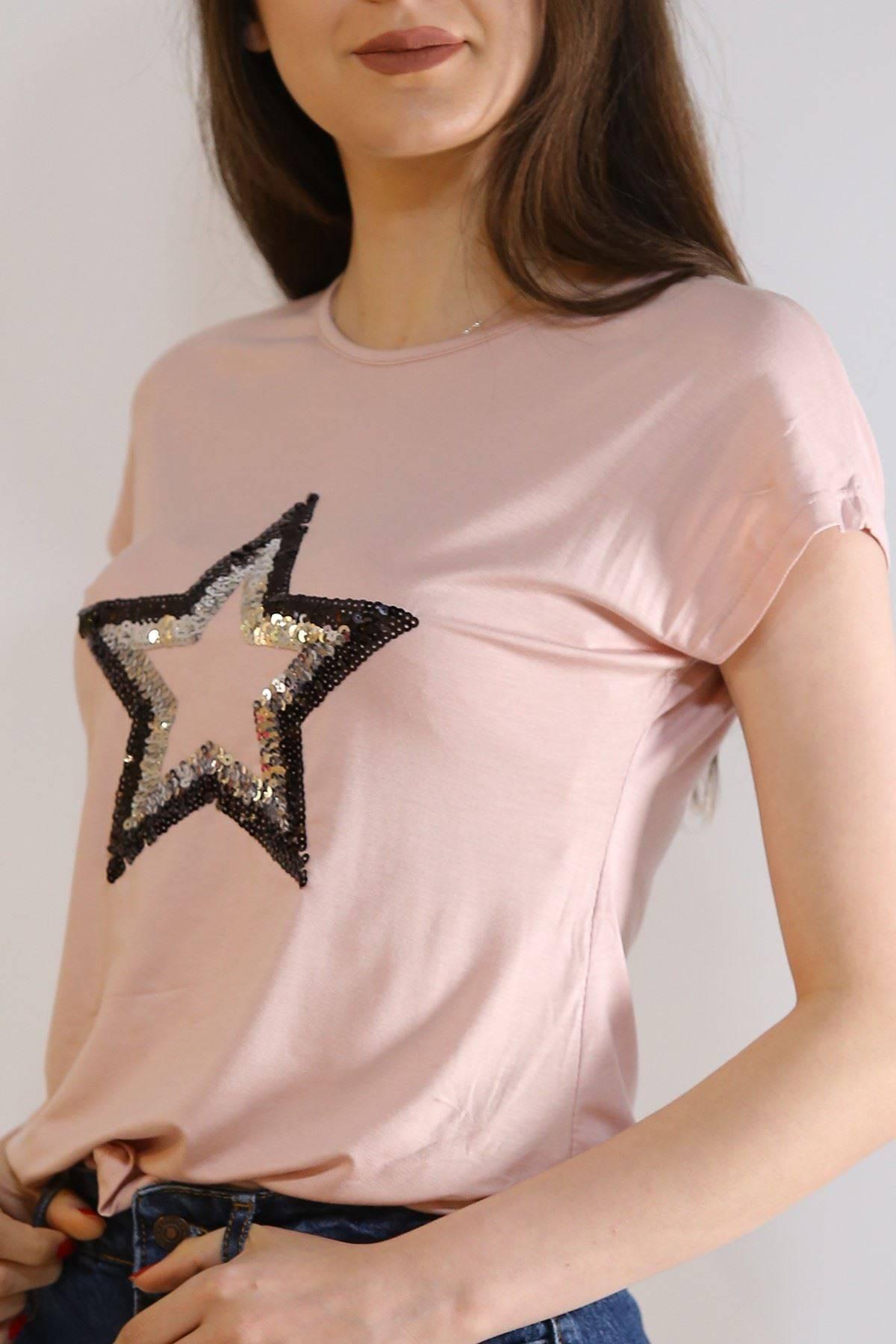 Pullu Yıldız Tişört Pudra - 5031.139.