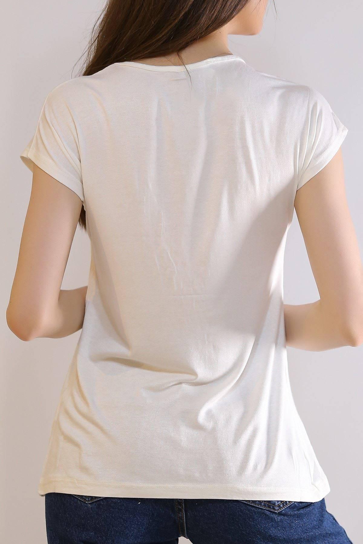 Taş İşlemeli Tişört Beyaz - 6005.139.