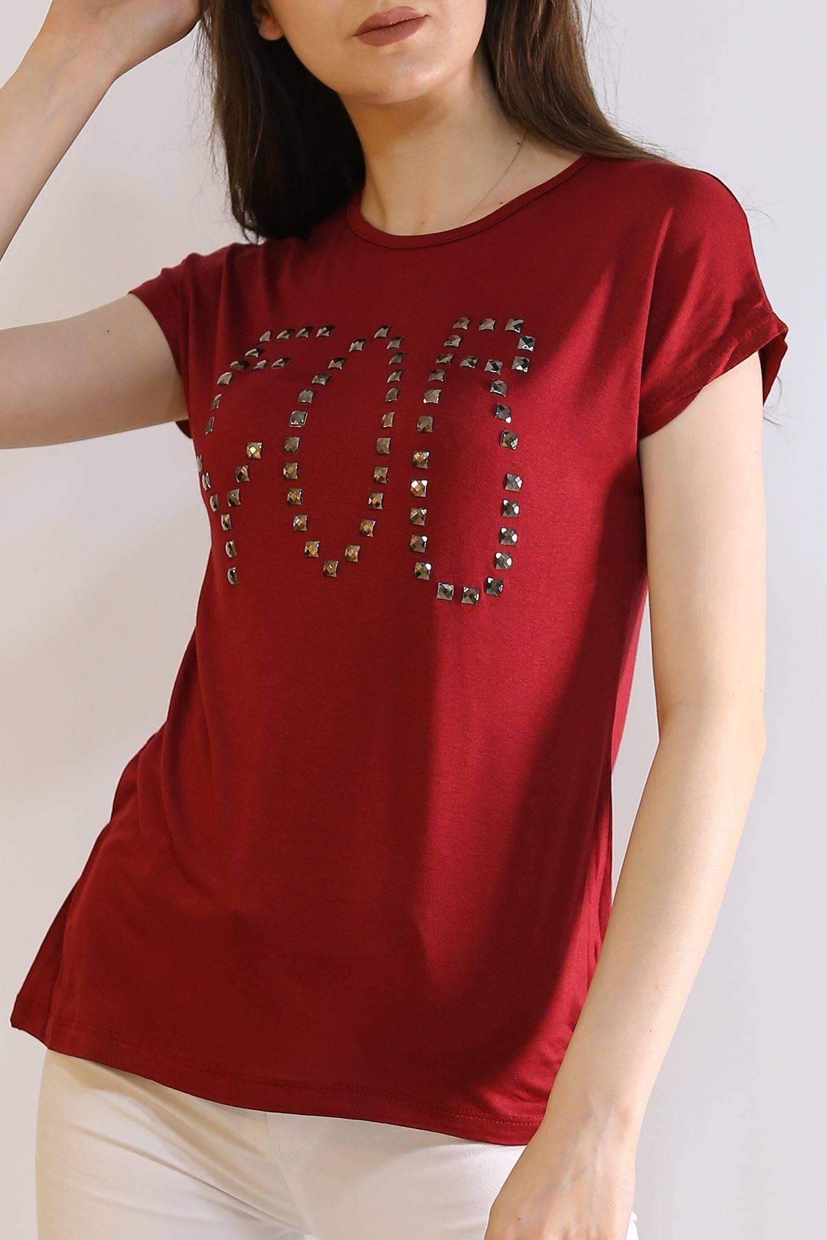 Taş İşlemeli Tişört Bordo - 6005.139.