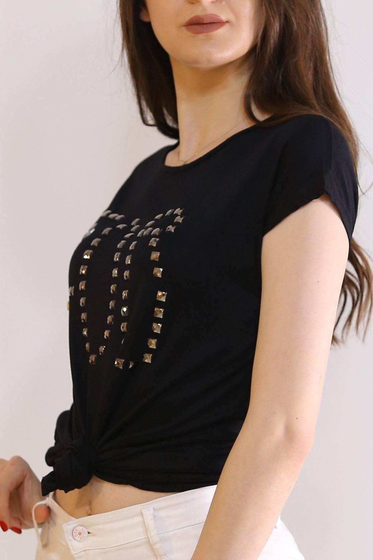 Taş İşlemeli Tişört Siyah - 6005.139.