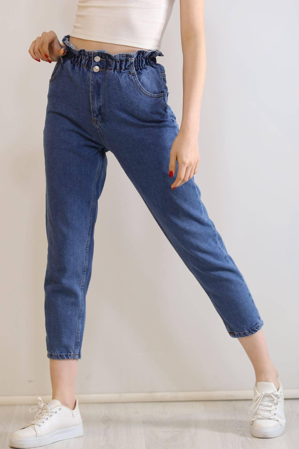 Çift Düğmeli  Kot Pantolon Mavi - 5862.299.
