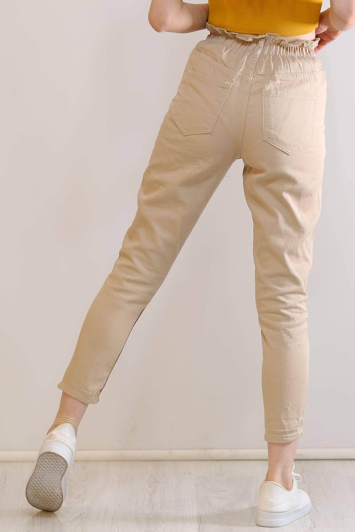 Çift Düğmeli  Kot Pantolon Taş - 5862.299.