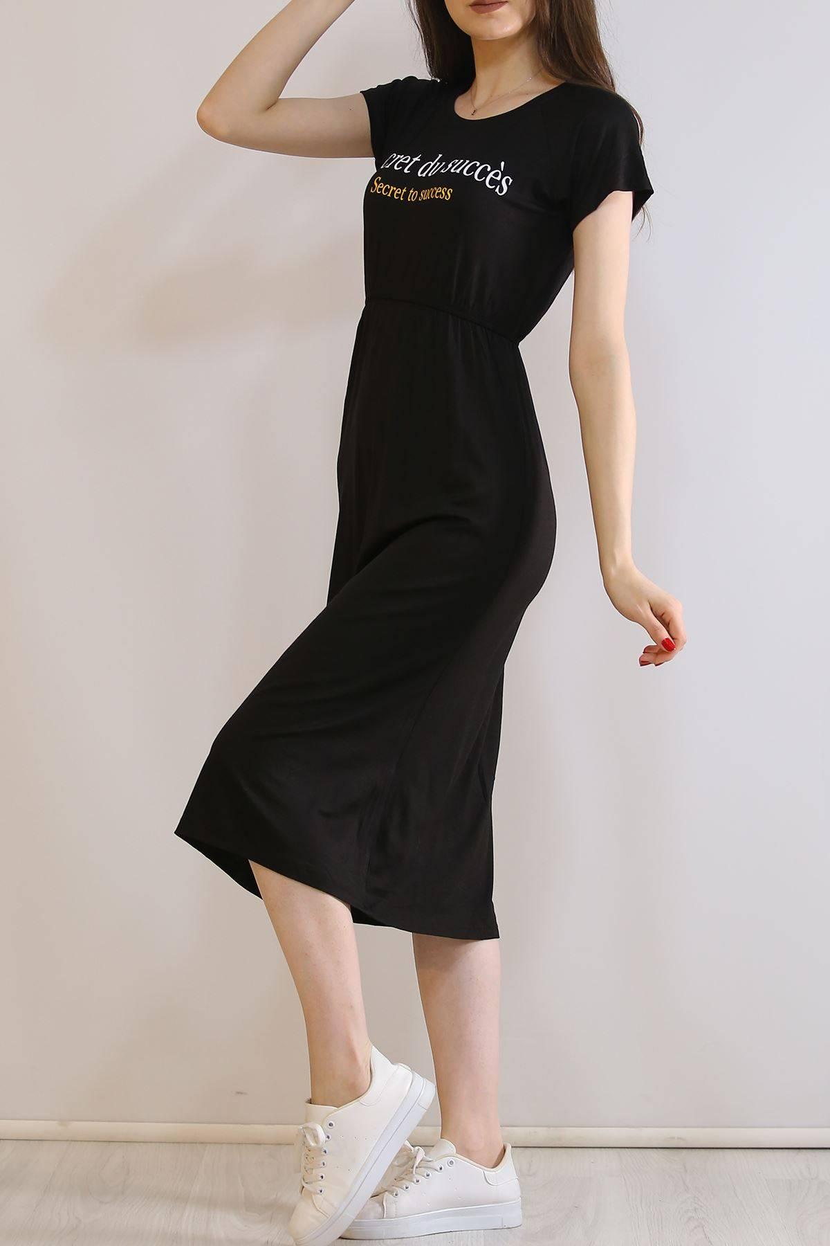 Beli Lastikli Viscon Elbise Siyah - 19349.200.