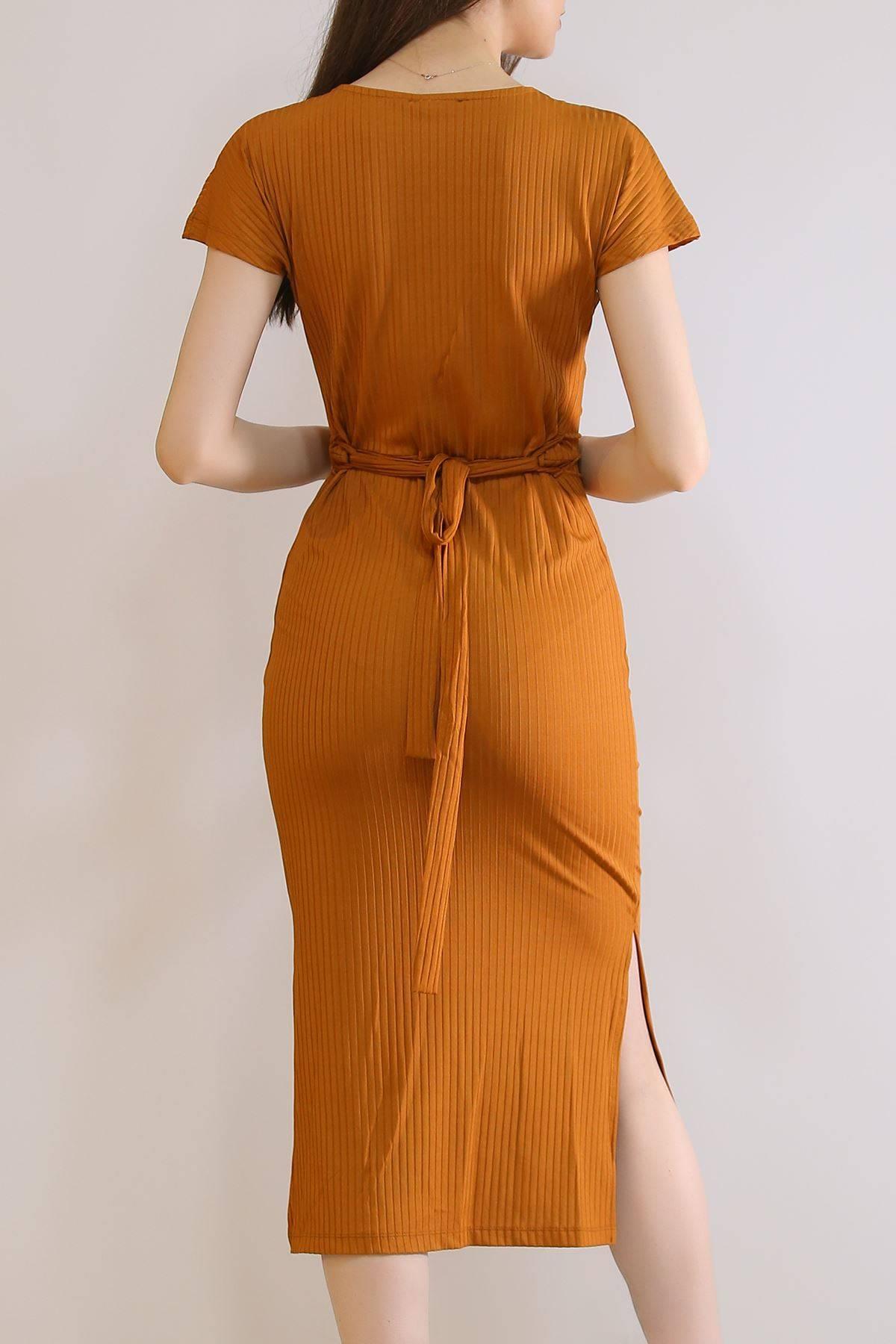 Beli Kuşaklı Uzun Elbise Tarçın - 19351.200.