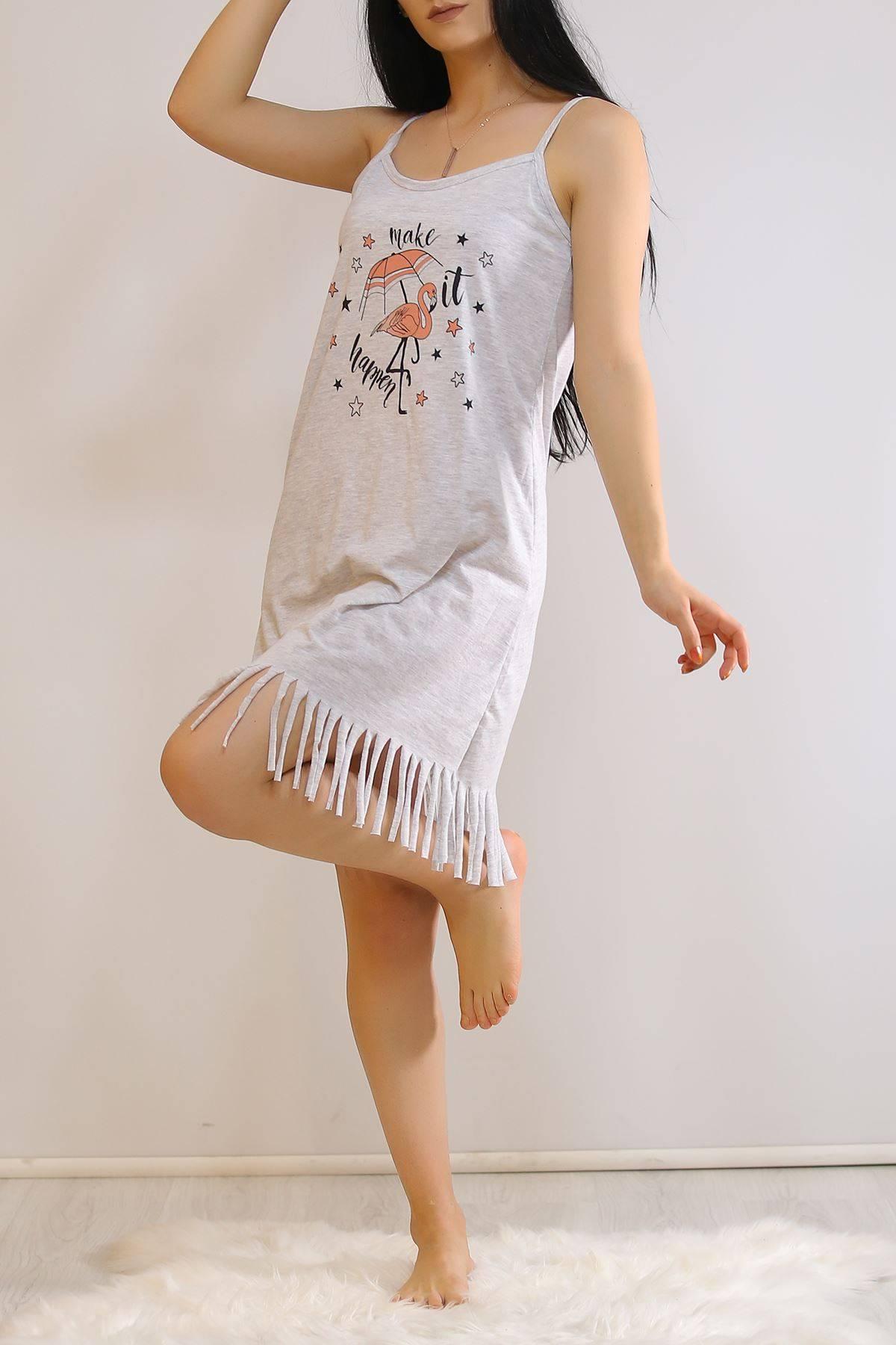 İp Askılı Elbise Gri - 5996.1287.