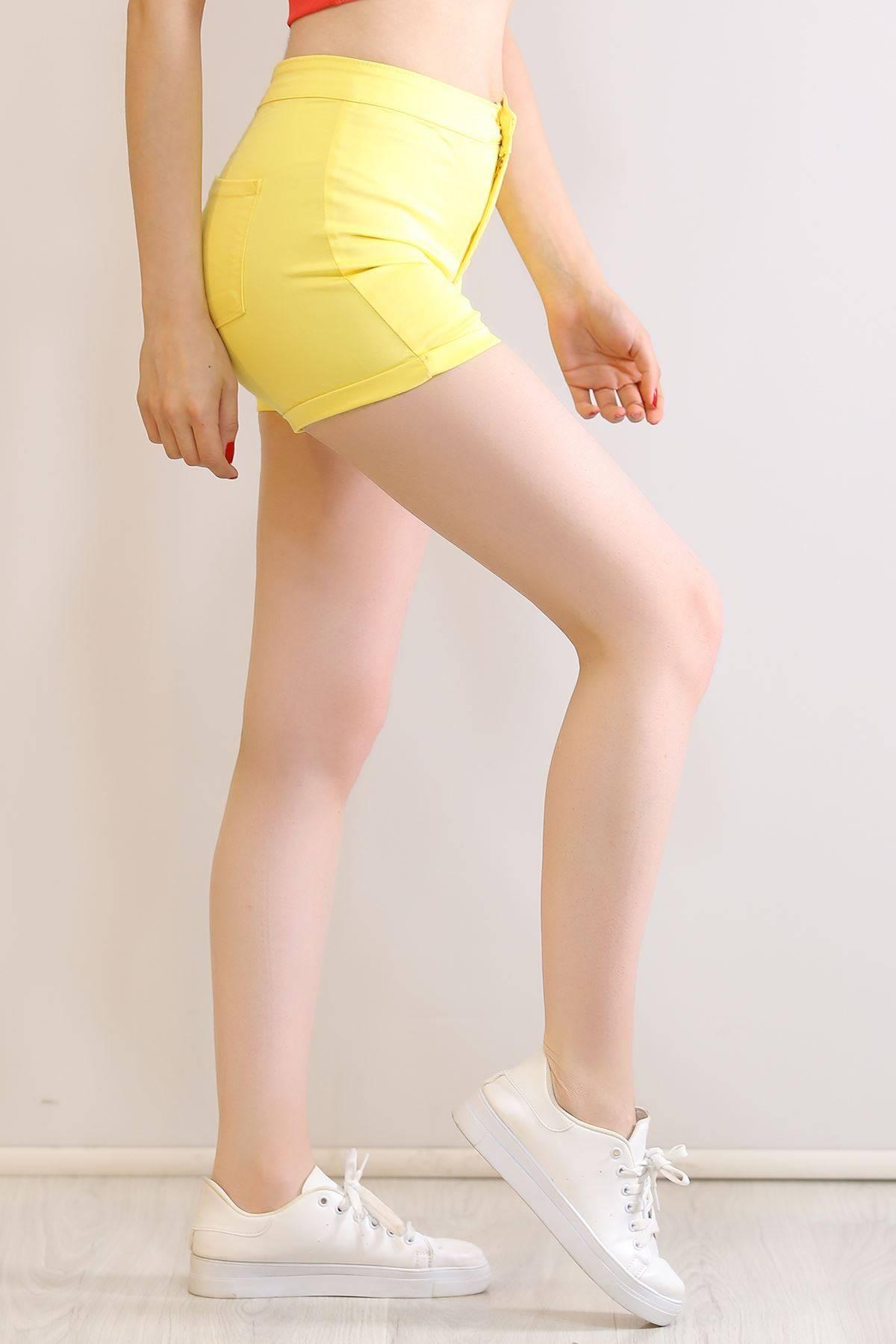 Kot Gabardin Likralı Şort Sarı - 6026.299.