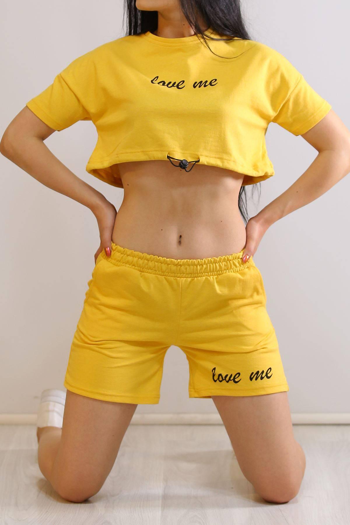Baskılı Şort Takım Sarı - 19902.200.