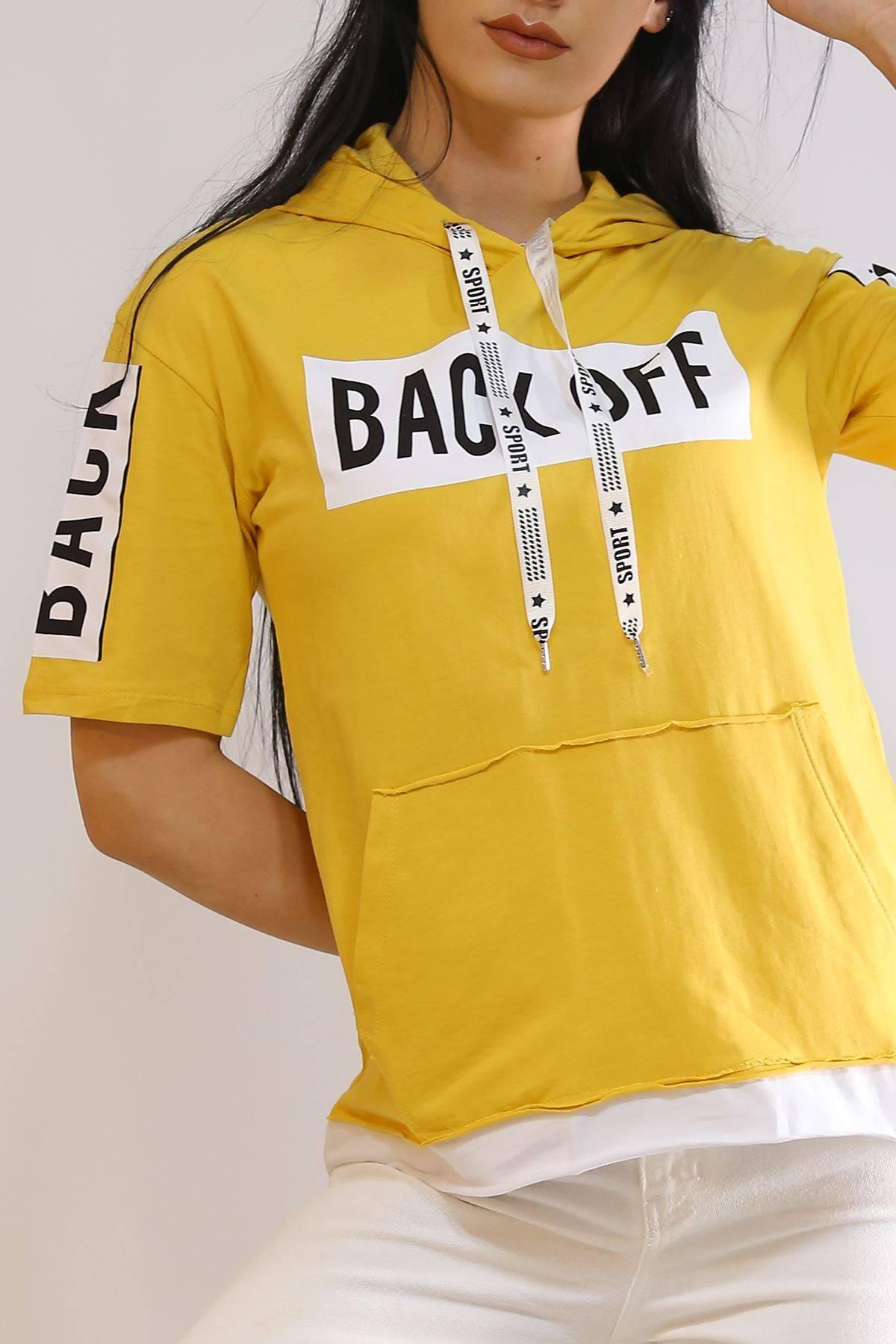 Back Off Baskılı Tişört Hardal - 2806.196.