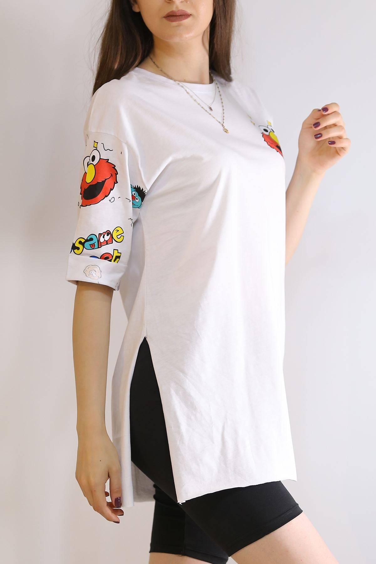 Baskılı Oversize Tişört Beyaz - 2822.196.