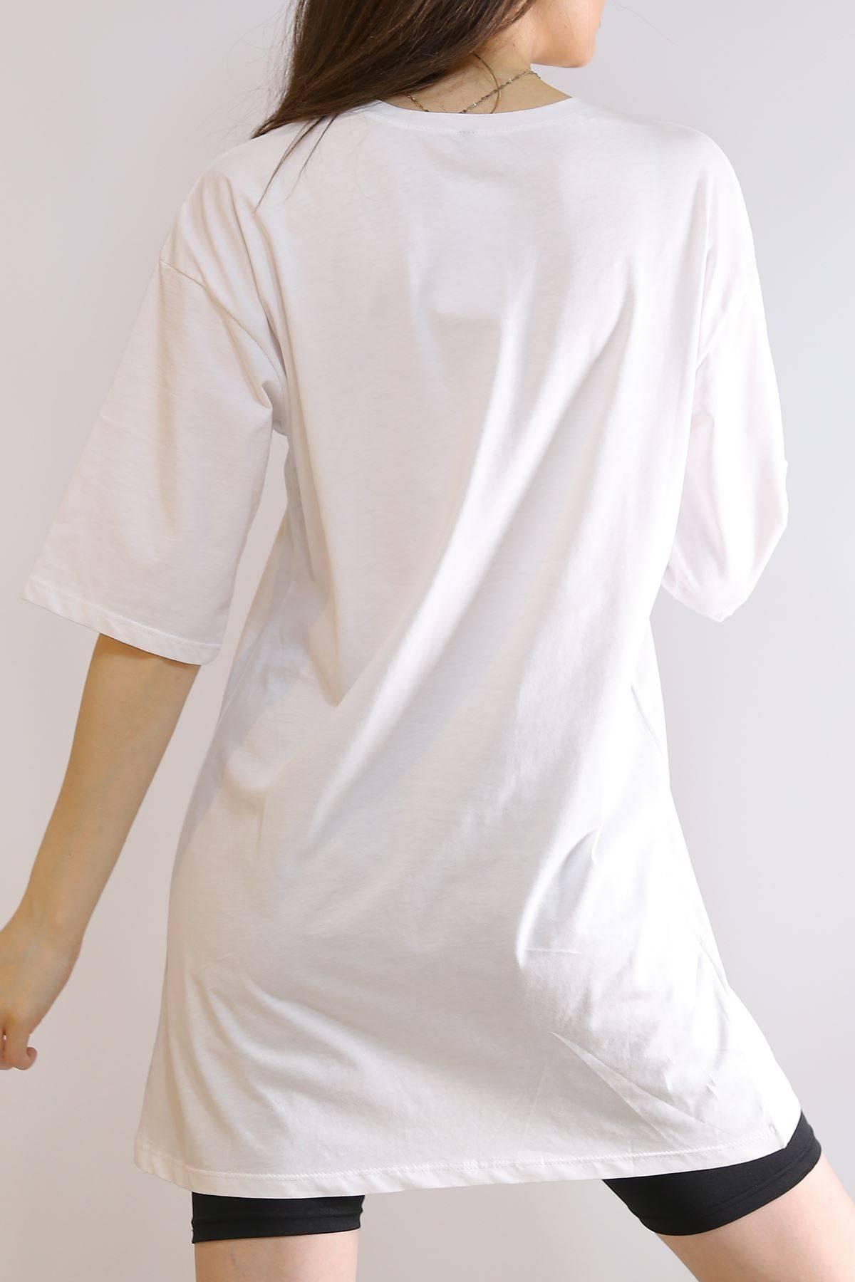 Baskılı Oversize Tişört Beyaz - 3004.196.