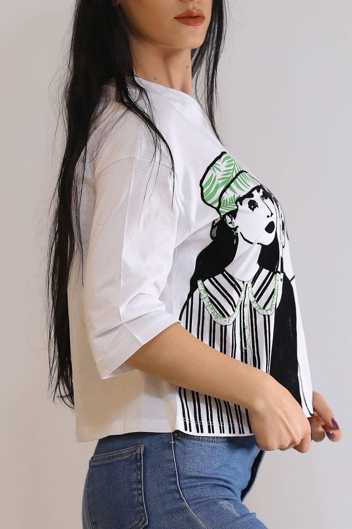 Kadife Kız Baskılı Tişört Beyaz - 3202.196.