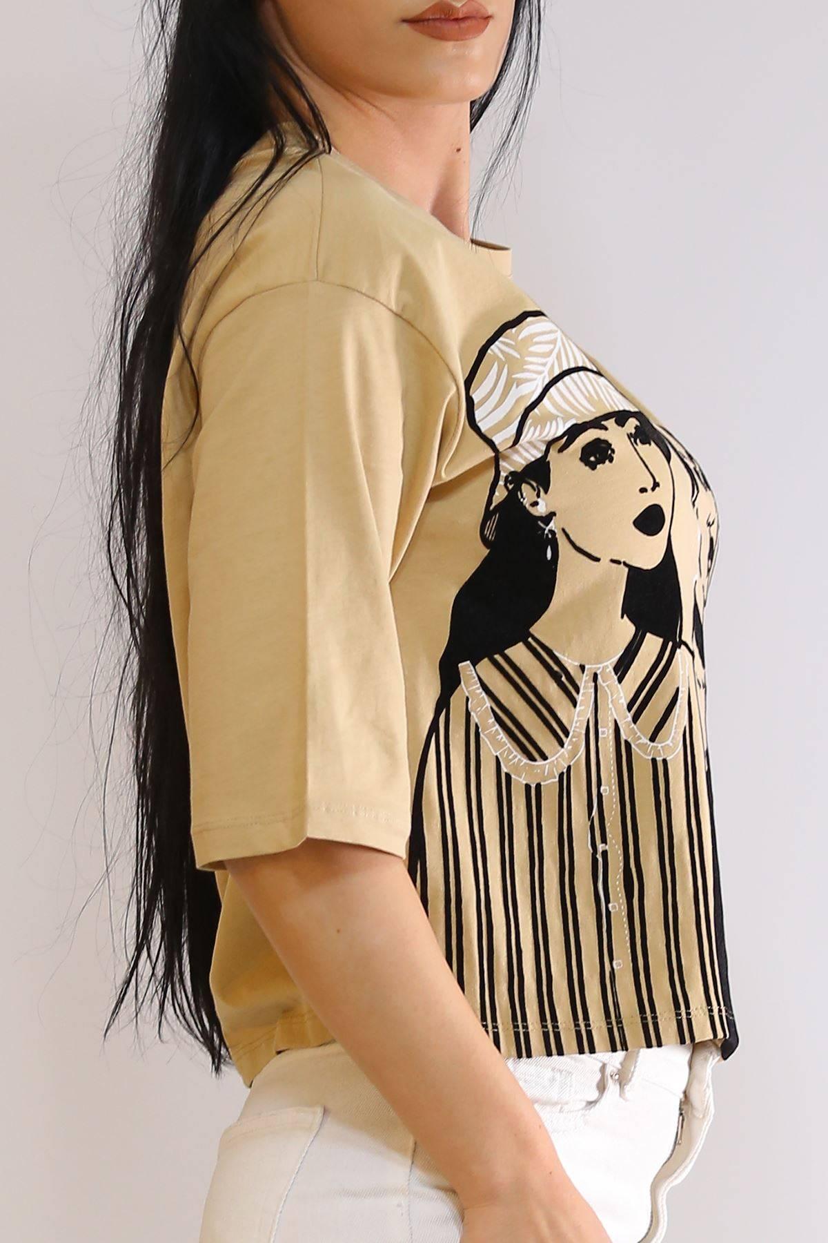 Kadife Kız Baskılı Tişört Karamel - 3202.196.