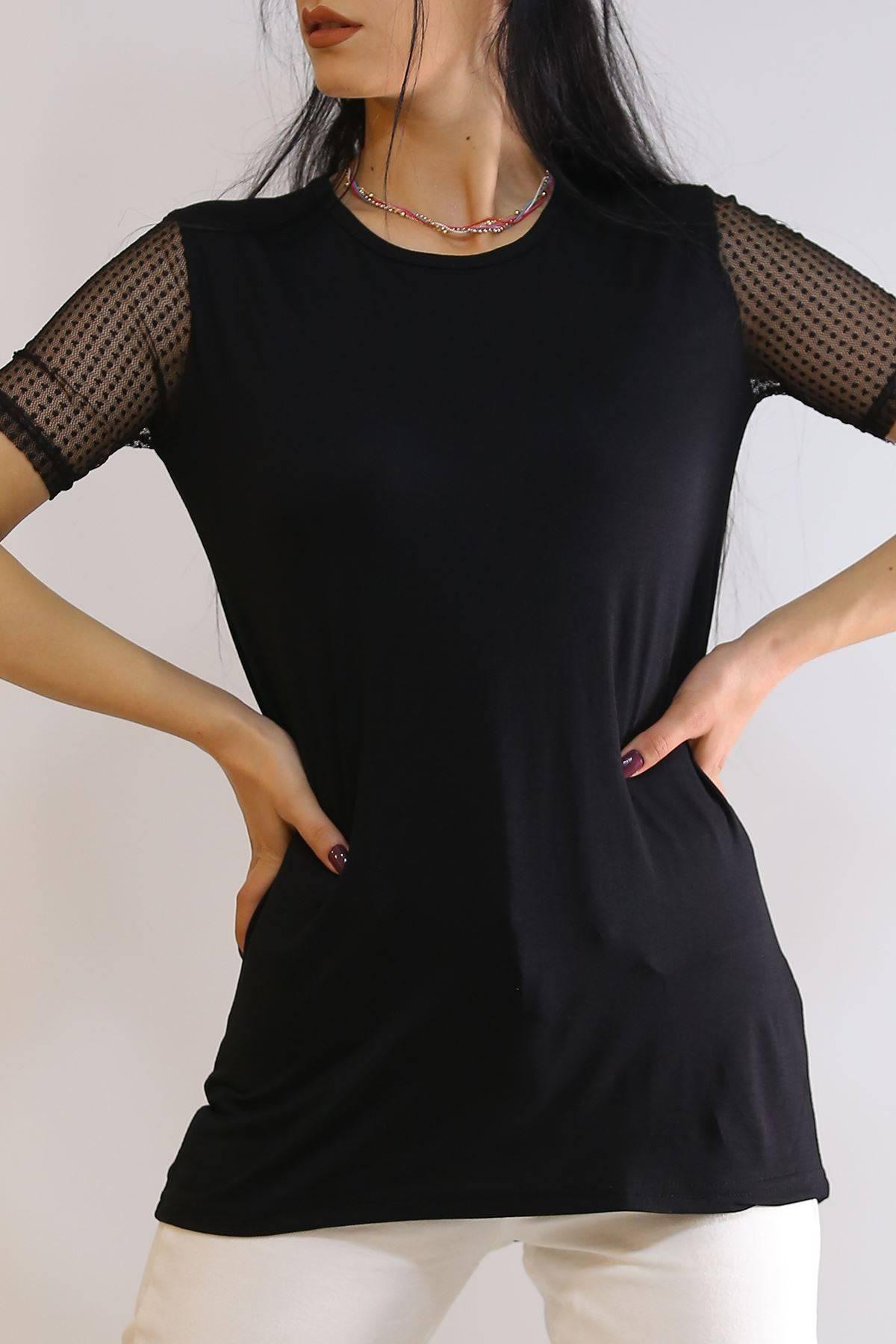 Kol Tüllü Tişört Siyah - 5956.599.