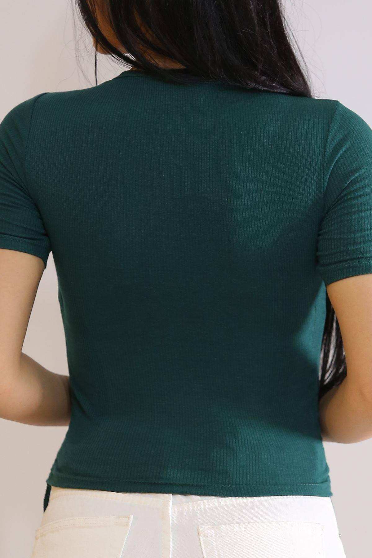Yanı Büzgülü Bluz Yeşil - 6038.316.