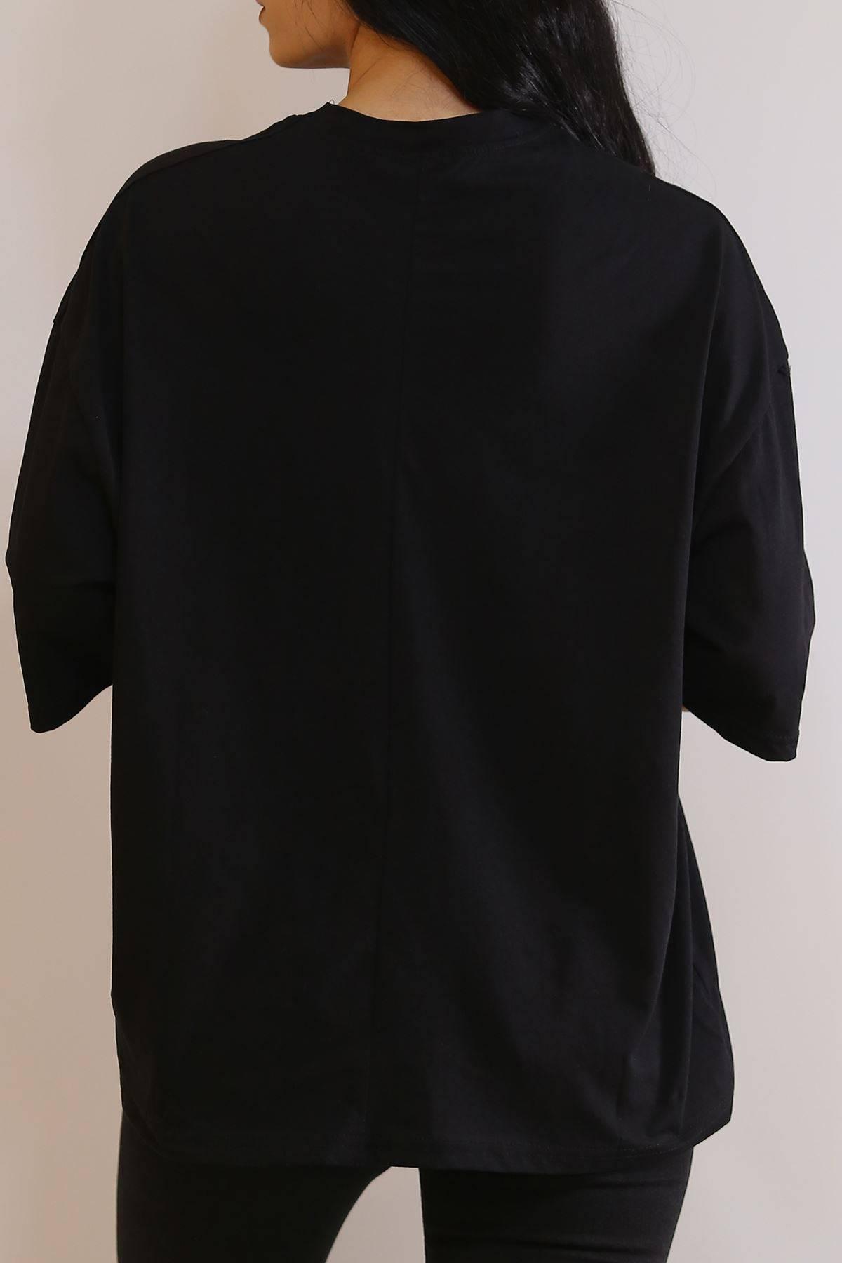 Baskılı Tişört Siyah - 6055.1377.