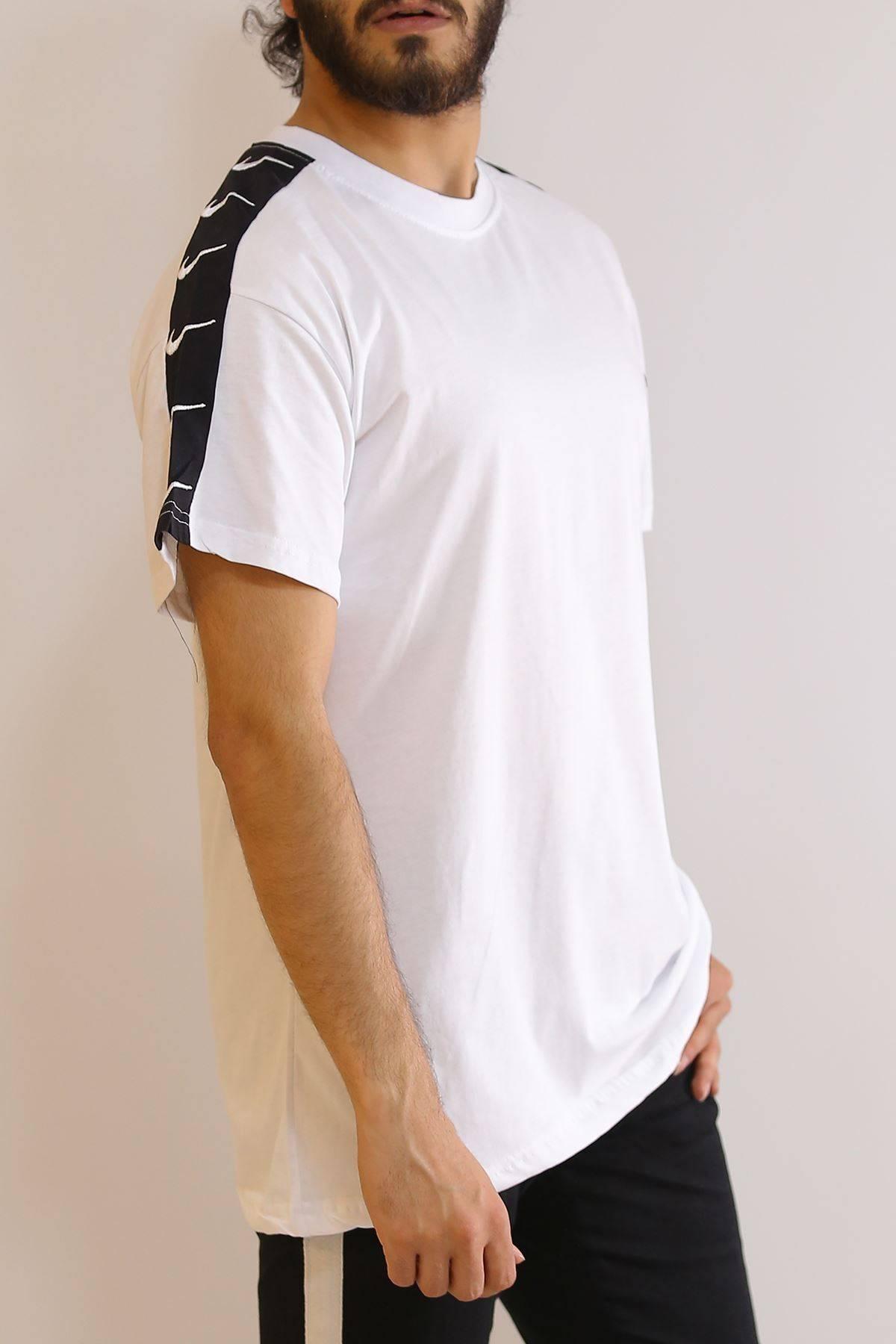 Kol Şeritli Tişört Beyaz - 6057.1377.
