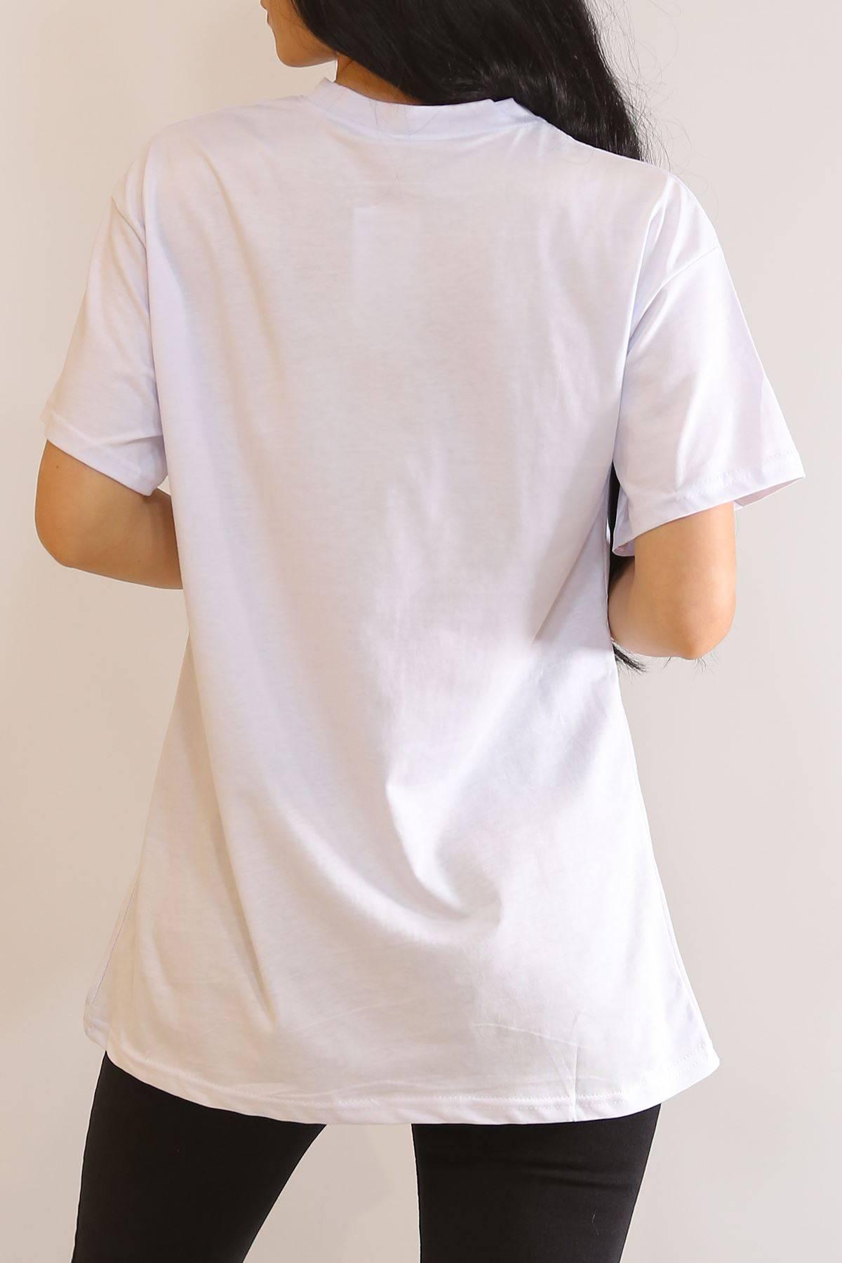 Ejderha Baskılı Tişört Beyaz - 6063.1377.