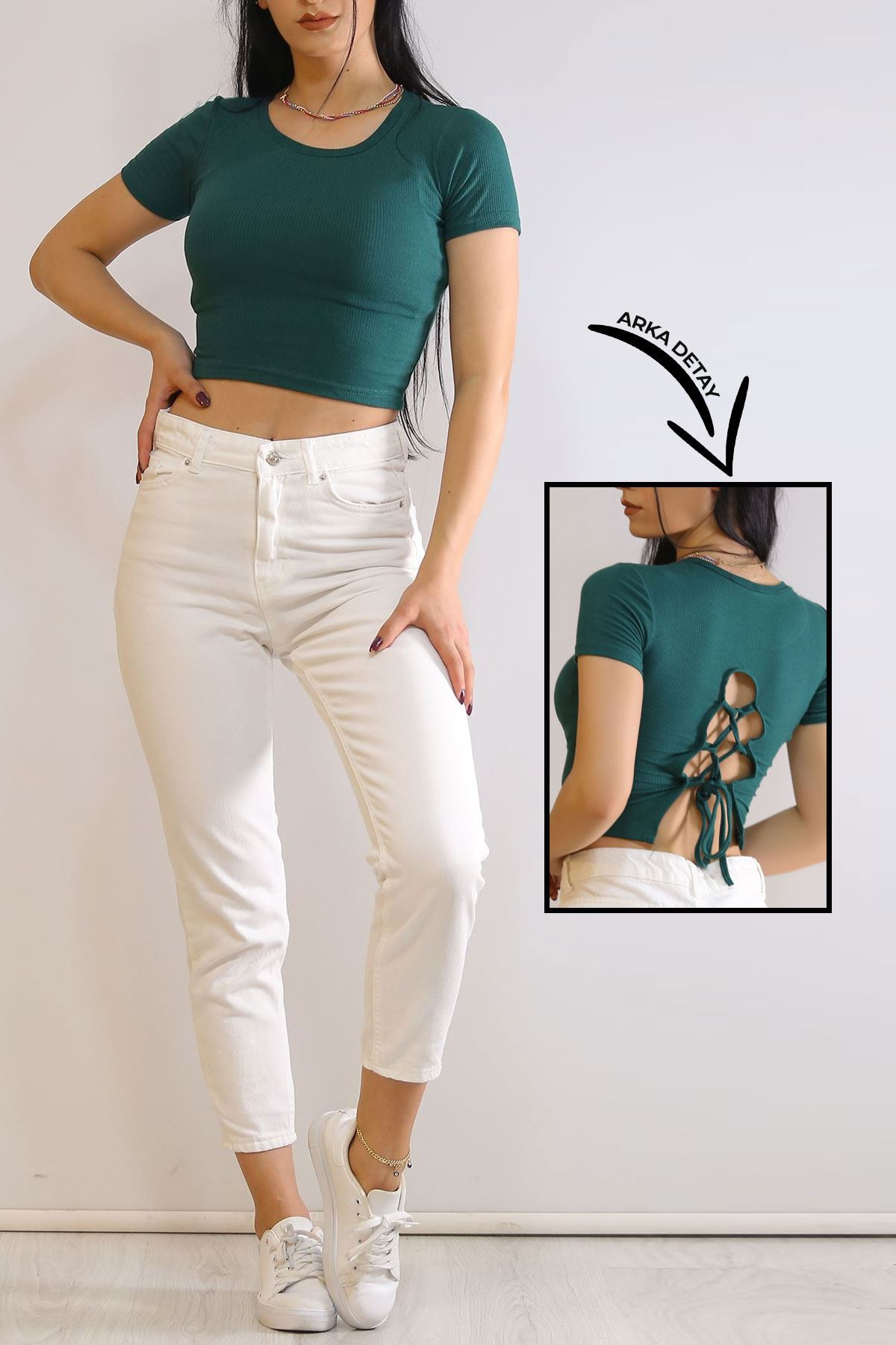 Sırt Dekolteli Bluz Yeşil - 6037.316.