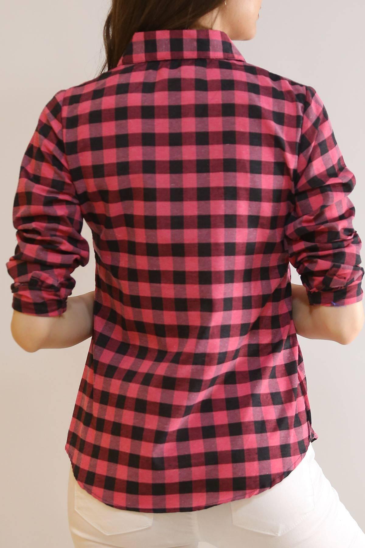 Kolu Katlamalı Gömlek Siyahpembe - 5907.1376.