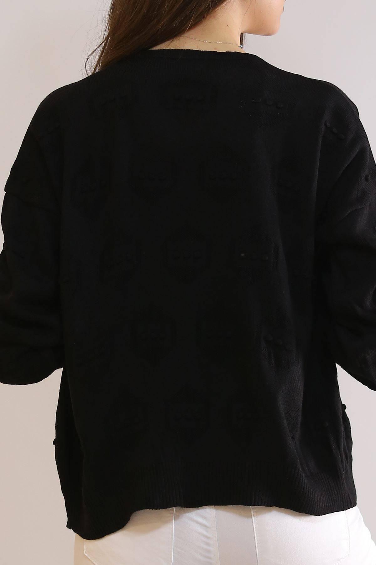 Kısa Ponponlu Triko Siyah - 9909.109.