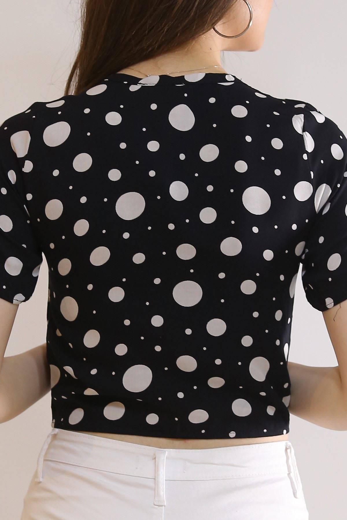 Altı Bağlamalı Bluz Siyahpuanlı - 5835.1153.