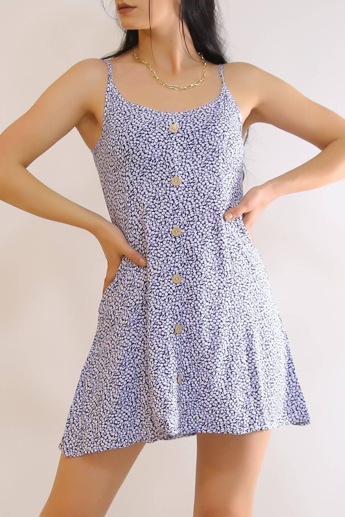 İp Askılı Elbise Mavi - 6079.1153.