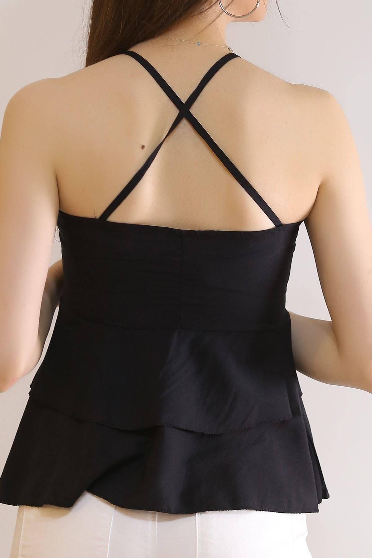 Çapraz Askılı Bluz Siyah - 6080.1153.