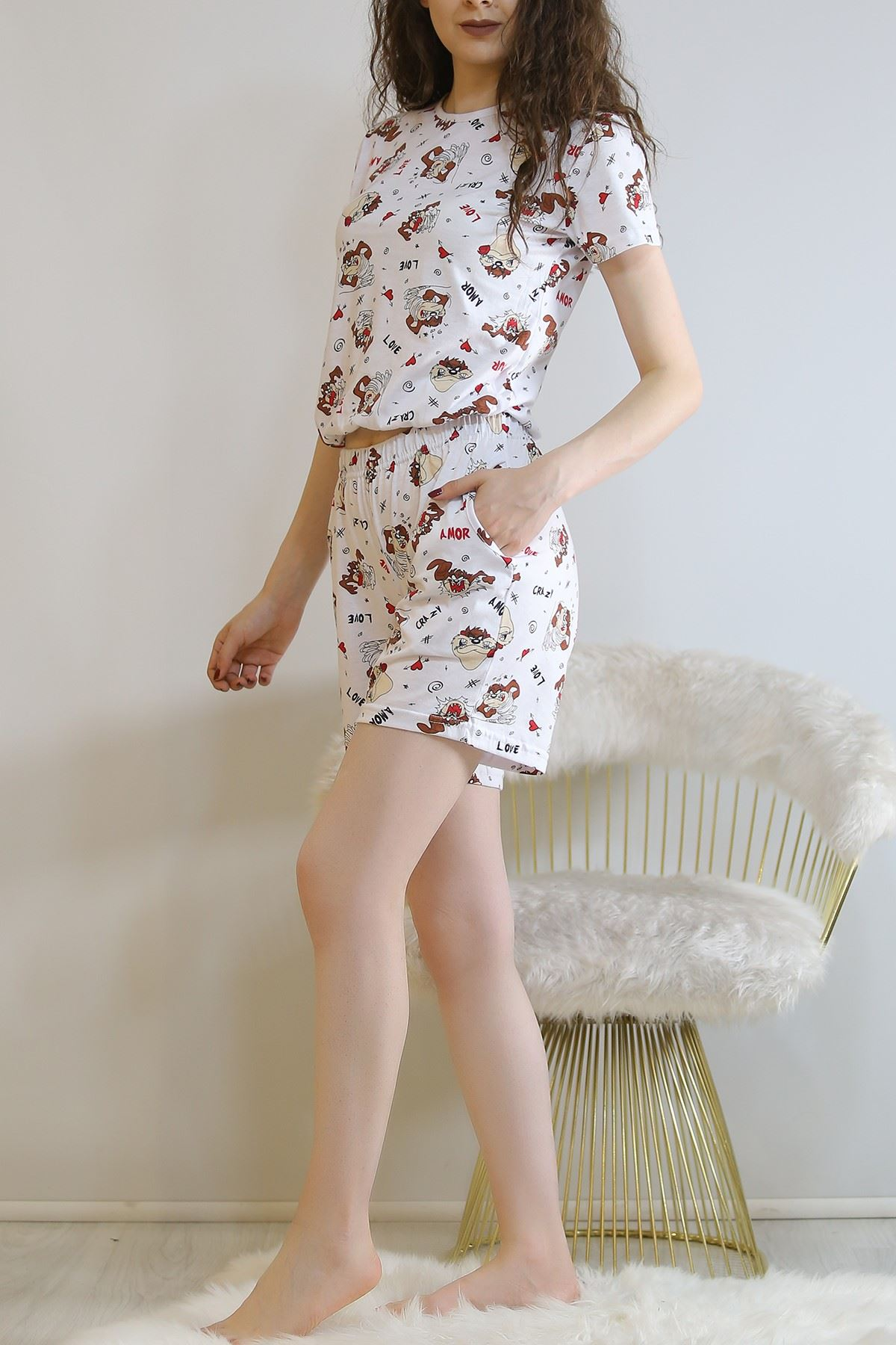 Şortlu Pijama Takımı Beyazkahve - 5924.1059.