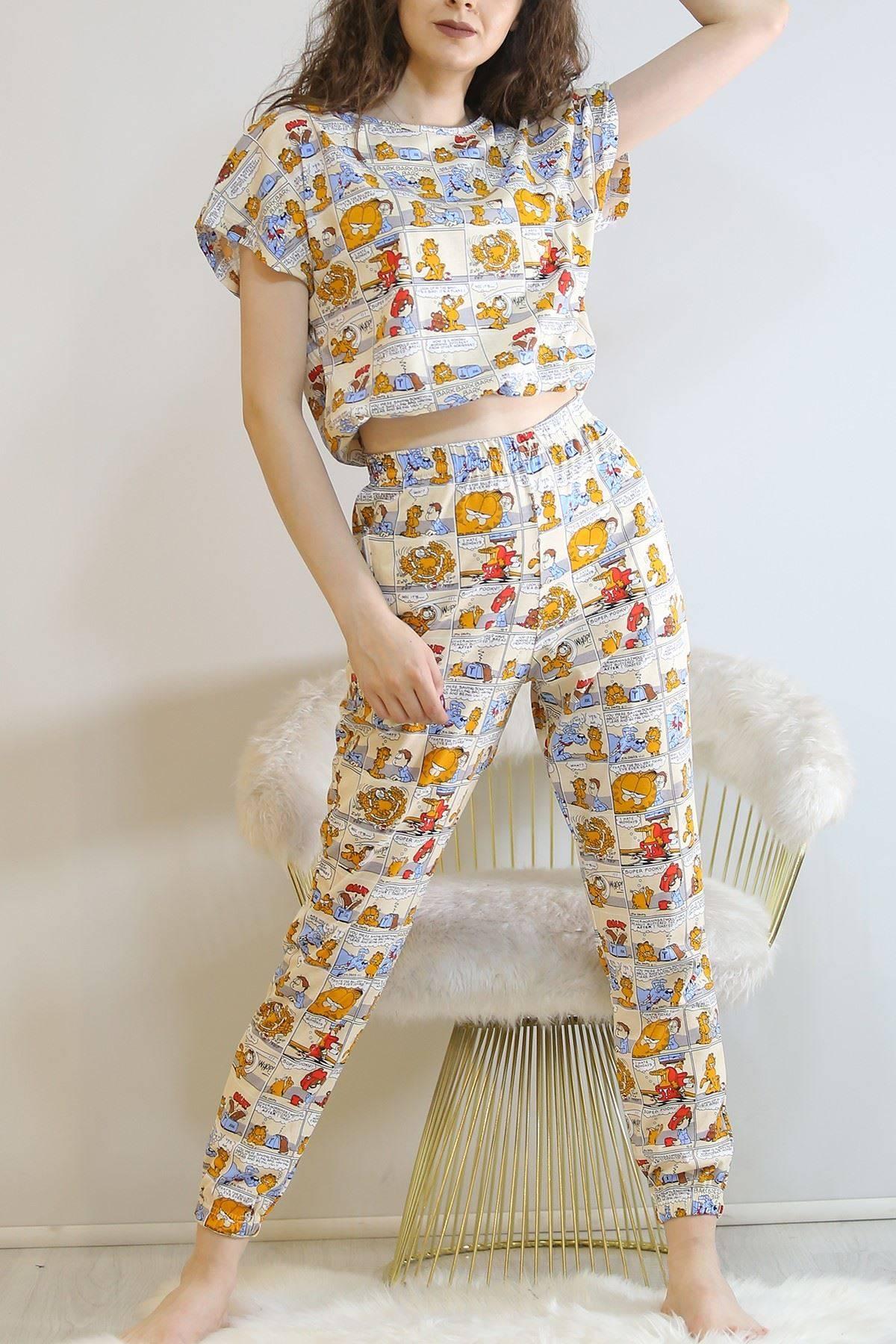 Crop Pijama Takımı Kremdesenli - 5992.1059.