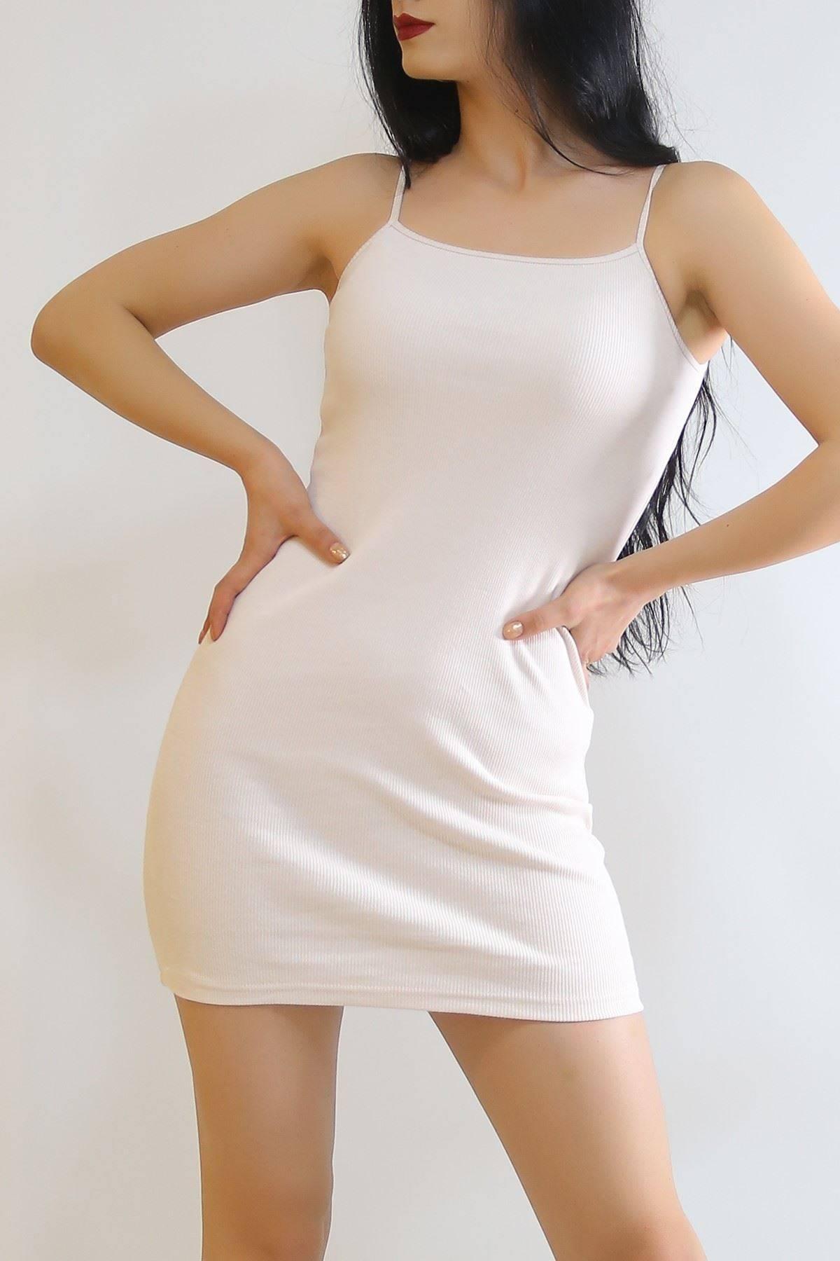 İp Askılı Elbise Pudra - 6089.316.