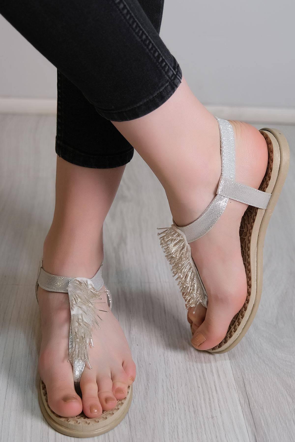 Parmak Arası Sandalet Gümüş - 6111.264.